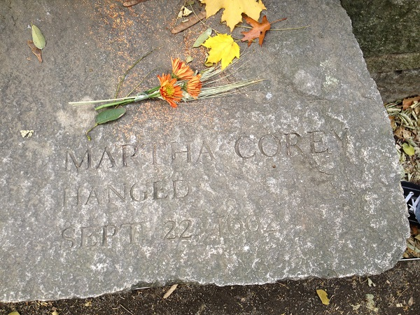 Martha Corey's Memorial Marker, Salem Witch Trials Memorial, Salem, Mass, November 2015. Photo Credit: Rebecca Brooks