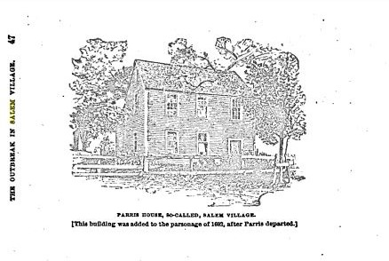 """Parris House, So Called, Salem Village,"" illustration published in Witchcraft in Salem Village in 1692; Winfield S. Nevins; circa 1916"