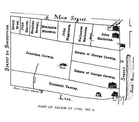 Map of Hathorne and Corwin estates, Salem, Mass, circa 1700, published in the Essex Antiquarian, Volume 3, in 1899