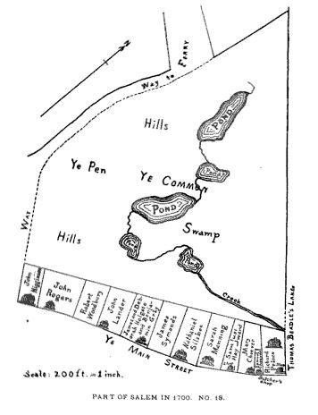 Map of Higginson's estate near Salem Common, Salem, Mass, circa 1700, illustration published in the Essex Antiquarian, Volume 9, in 1905