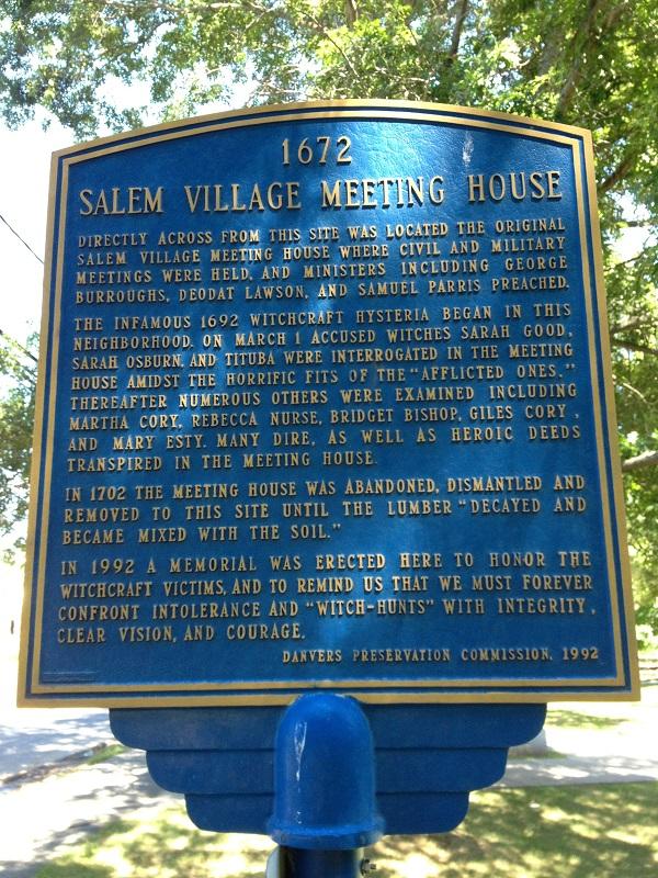 Salem Village Meetinghouse, Historical Marker, Hobart Street, Danvers, Mass