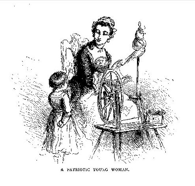 A Patriotic Young Woman, illustration published in Our Country: A Household History for All Readers, circa 1877