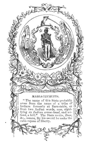 Origins of the Massachusetts name, illustration published in A Pictorial School History of the United States, circa 1877