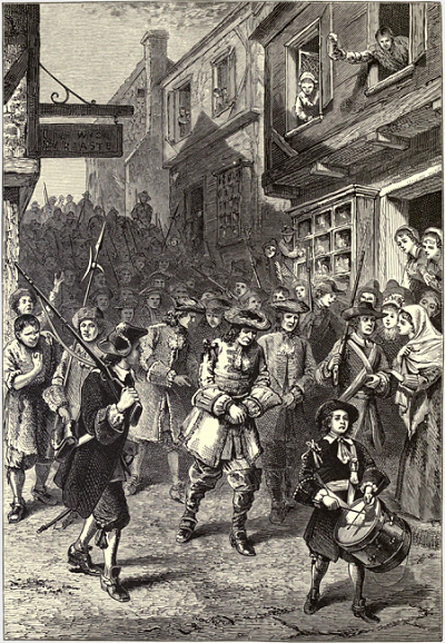 Andros a Prisoner in Boston, illustration by F.O.C. Darley, William L. Shepard or Granville Perkins, circa 1876