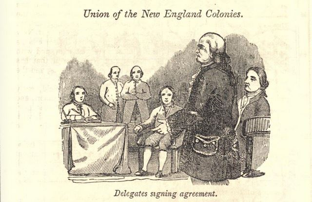"""""""Delegates Signing Agreement,"""" New England Confederation, illustration published in a Pictorial History of the United States circa 1857"""