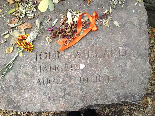 John Willard, Memorial Marker, Salem Witch Trials Memorial, Salem, Mass, November 2015. Photo Credit: Rebecca Brooks