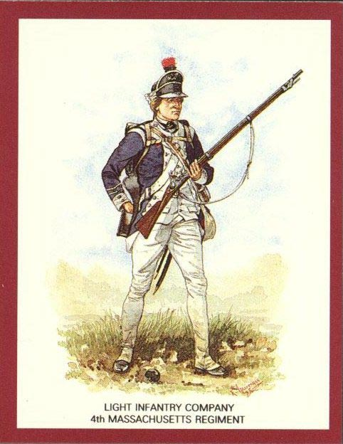4th Massachusetts Regiment, Illustration by R. J. Marrion for the Uniforms of the American War of Independence, a series of 24 collector cards