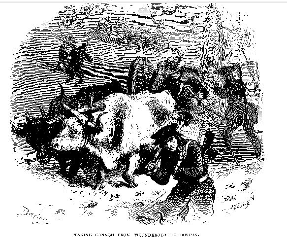 Taking Cannon from Ticonderoga to Boston, illustration published in Our Country, circa 1877