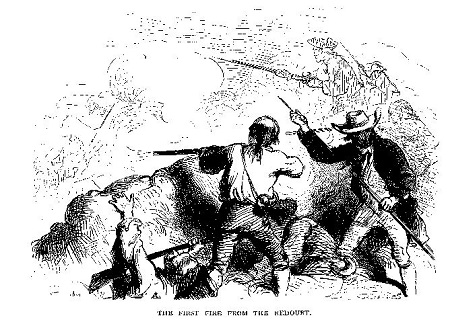 The First Fire from the Redoubt, illustration published in Our Country: A Household History for All Readers, circa 1877