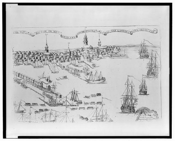The town of Boston in New England and British ships of war landing their troops! 1768, illustration by Paul Revere, circa 1770
