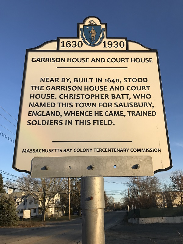 Garrison House and Court House, historical marker, Elm Street, Salisbury, Mass. Photo Credit: Rebecca Beatrice Brooks.