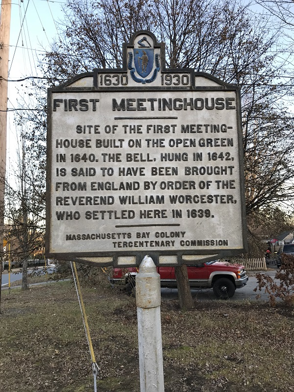 First meetinghouse, historical marker, near the corner of Mudnock Road and Elm Street, Salisbury, Mass. Photo Credit: Rebecca Beatrice Brooks