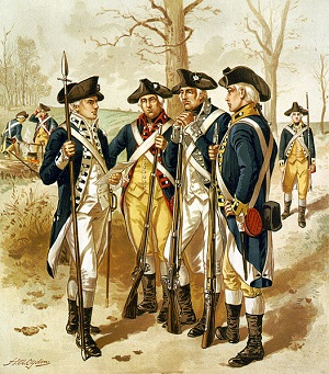 Uniforms and weapons of the Continental Army, lithograph by Henry Alexander Ogden