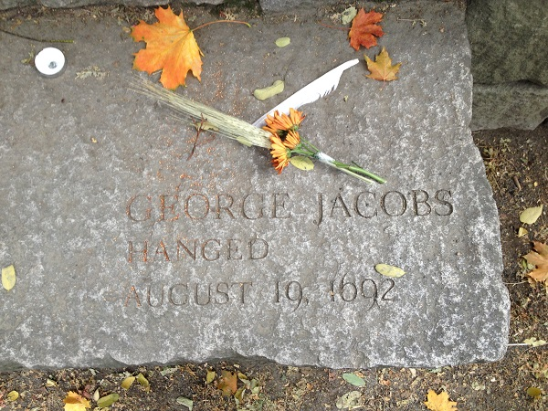 George Jacobs, Sr's., Memorial Marker, Salem Witch Trials Memorial, Salem Mass, November 2015. Photo Credit: Rebecca Brooks