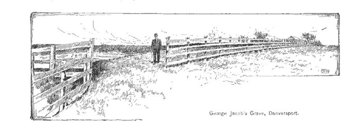 Site of George Jacob's grave, Danvers, illustration published in New England Magazine, circa 1892