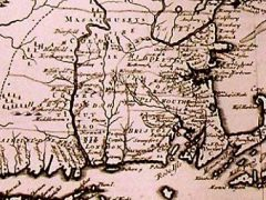Plymouth on a map of New England, circa 1720