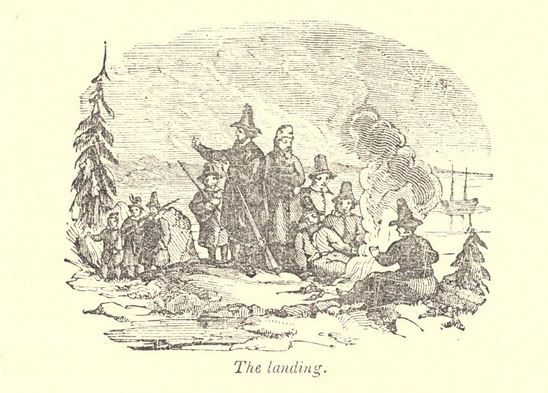 """The landing."" Illustration published in A Pictorial History of the United States circa 1852"