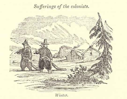 """Suffering of the colonists. Winter."" Illustration published in A Pictorial History of the United States circa 1852"