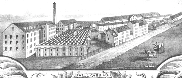 Plan of the city of Lowell, Massachusetts, illustration by Sidney and Neff, circa 1850