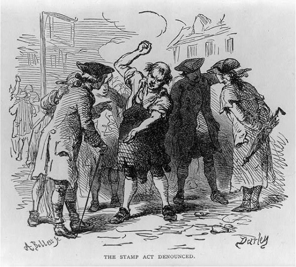 The Stamp Act Denounced, illustration published in Lossing's History of the United States of America, circa 1913