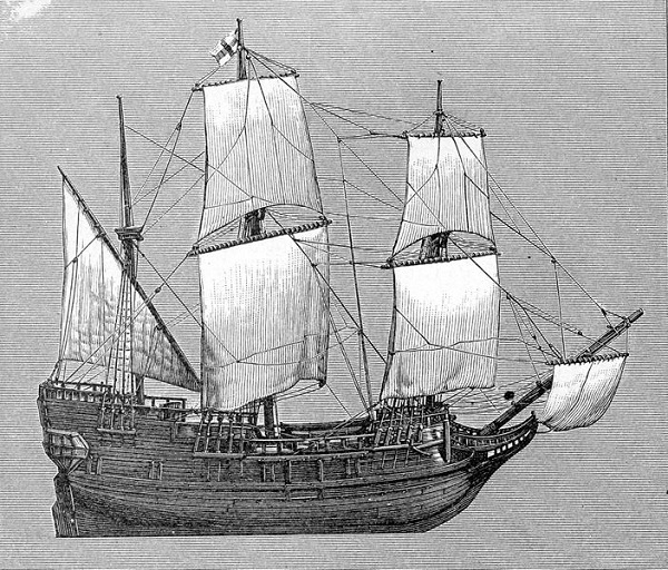 The Mayflower, illustration published in A School History of the United States, circa 1897