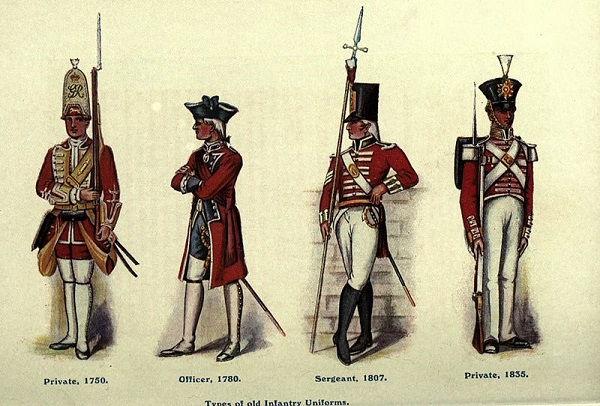 Types of infantry uniforms of the British army, illustration published in Regimental Nicknames and Traditions of the British Army, circa 1916