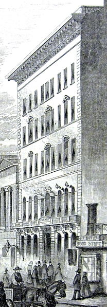 Parker House, School Street, Boston, Ma, illustration published in Ballous Pictorial, circa 1855