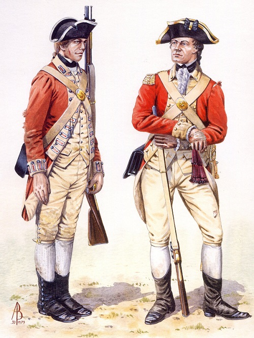 Soldier and Officer of the 27th Regiment of Foot in the British Army