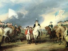 """""""Surrender of Cornwallis at Yorktown"""" by John Trumball circa 1819-20. Painting depicting the British surrendering to French and American troops in Yorktown."""