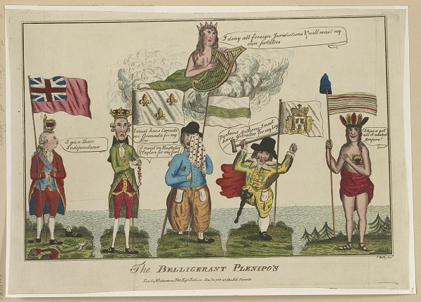 """""""The Belligerent Plenipo's"""", cartoon by Thomas Colley, published in London, circa 1782"""