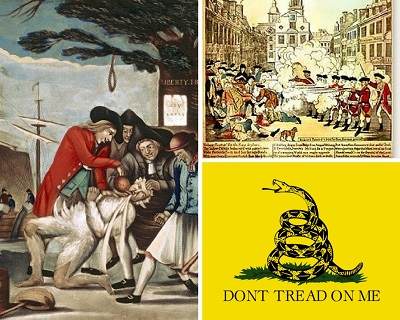 "Left: ""The Bostonians Paying the Excise-man, or Tarring and Feathering,"" British print published in 1774. Top Right: Paul Revere's Boston Massacre Engraving. Bottom Right: The Gadsden Flag."