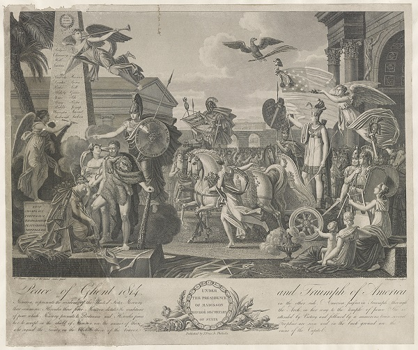 """""""Peace of Ghent 1814 and triumph of America,"""" engraving by Alexis Chataigner, circa 1815"""