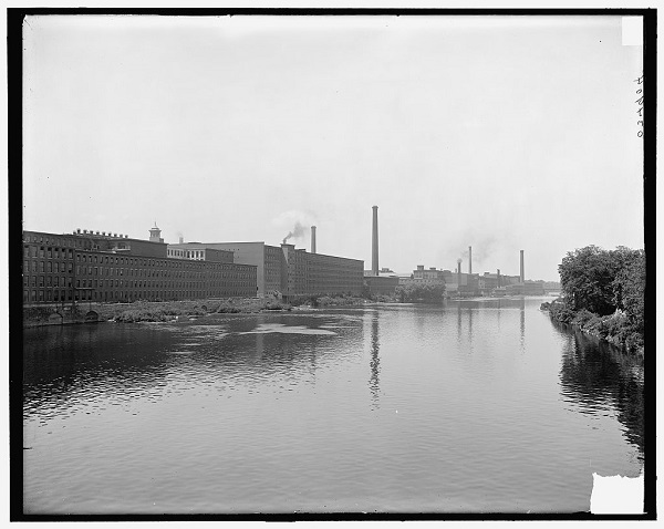 Mills on the Merrimack River, Lowell, Mass, circa 1900