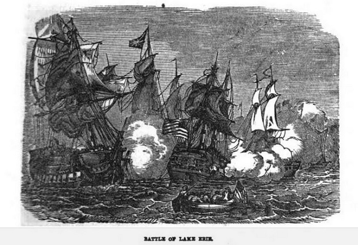 Battle of Lake Erie, illustration published in Military Heroes of the War of 1812, circa 1849