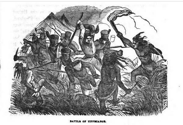 Battle of Tippecanoe, illustration published in Military Heroes of the War of 1812, circa 1849