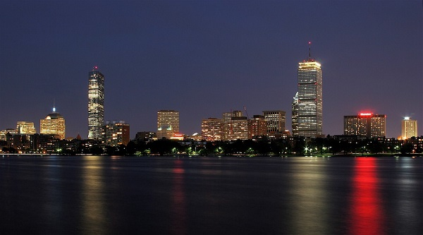 Nightime skyline of Boston, Massachusetts