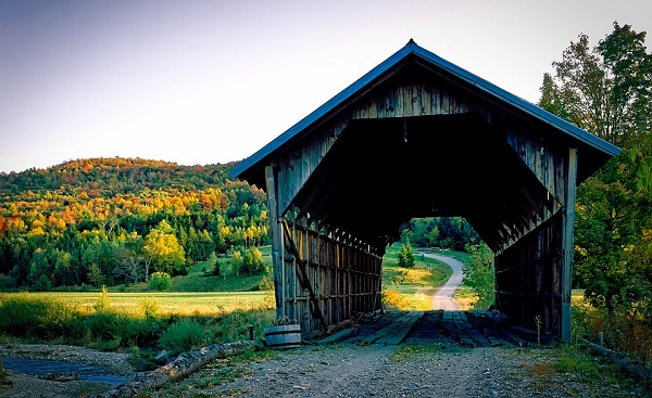 A covered bridge in scenic Vermont.