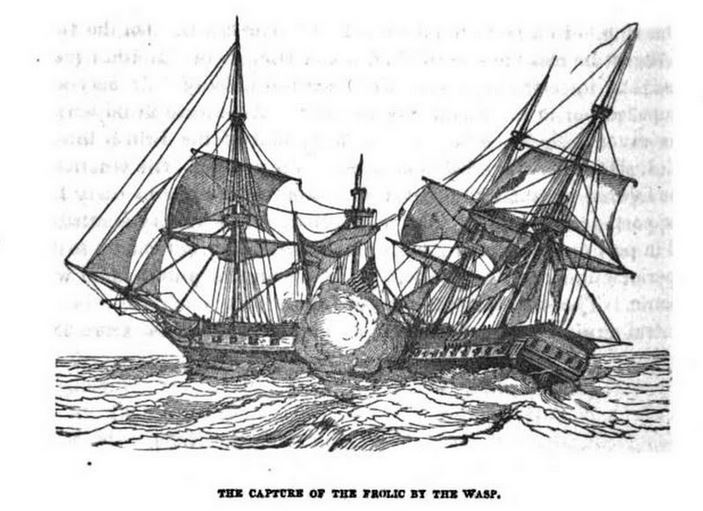 Capture of the Frolic by the Wasp, illustration published in Military Heroes of the War of 1812, circa 1849