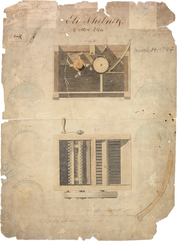 Eli Whitney's Patent for the Cotton gin, March 14, 1794