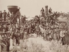 Celebration of the meeting of the Transcontinental railroad in Promontory Summit, Utah, May 1869