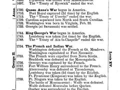 Chronological Summary of the French and Indian Wars, published in A Pictorial School History of the United States, circa 1877