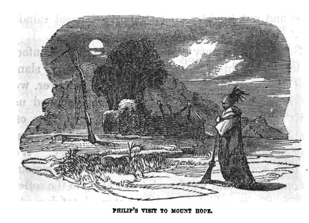 Philips Visit to Mount Hope, illustration published in Pictorial History of King Philips War, circa 1851