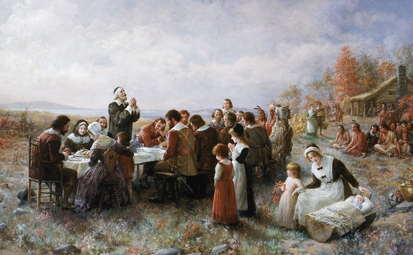 """""""First Thanksgiving at Plymouth"""" oil painting by Jennie A. Brownscombe, circa 1914"""