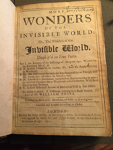 More Wonders of the Invisible World by Robert Calef