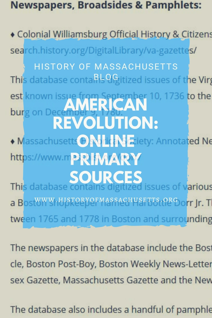 American Revolution Online Primary Sources History Of