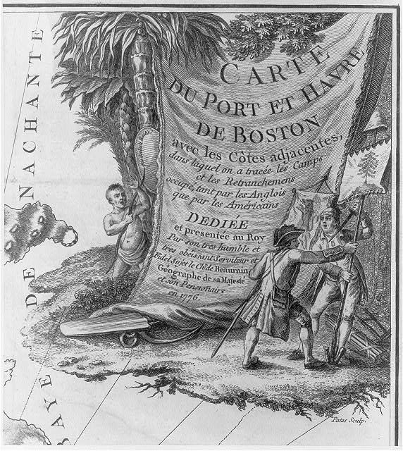 A Tory and a patriot wrestle over a liberty tree banner while a Native watches, illustration depicts British and American struggle for land ownership in North America, published in Paris, circa 1776