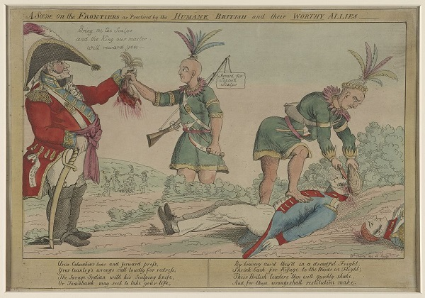A scene on the frontiers as practiced by the humane British and their worthy allies, illustration by William Charles, published in Philadelphia circa 1812