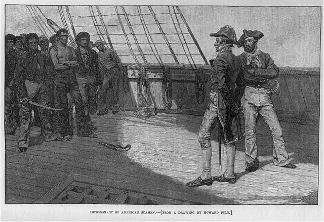 Impressment of American seamen, illustration published in Harper's Monthly Magazine, circa 1884