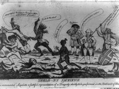 """Shelb---ns sacrifice invented by cruelty, engraved by dishonor,"" illustration depicts Lord Shelburne watching Natives slaughter loyalists in America, published in London circa 1783"