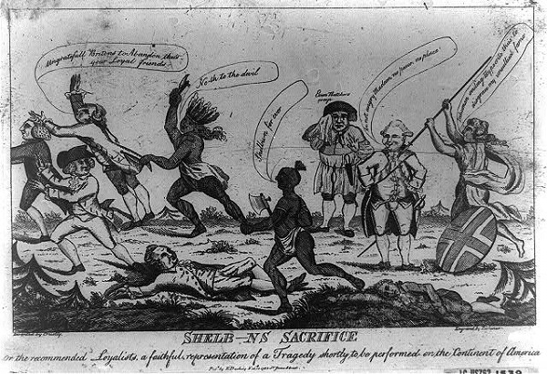 """""""Shelb---ns sacrifice invented by cruelty, engraved by dishonor,"""" illustration depicts Lord Shelburne watching Natives slaughter loyalists in America, published in London circa 1783"""